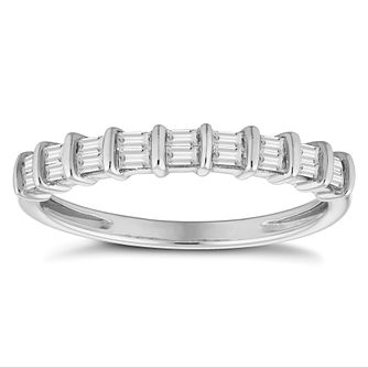 9ct White Gold 0.20ct DIamond Baguette Cut Eternity Ring - Product number 4679709