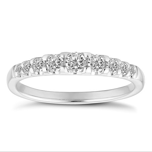9ct White Gold 1/3ct Half Eternity Graduated Diamond Ring - Product number 4680235