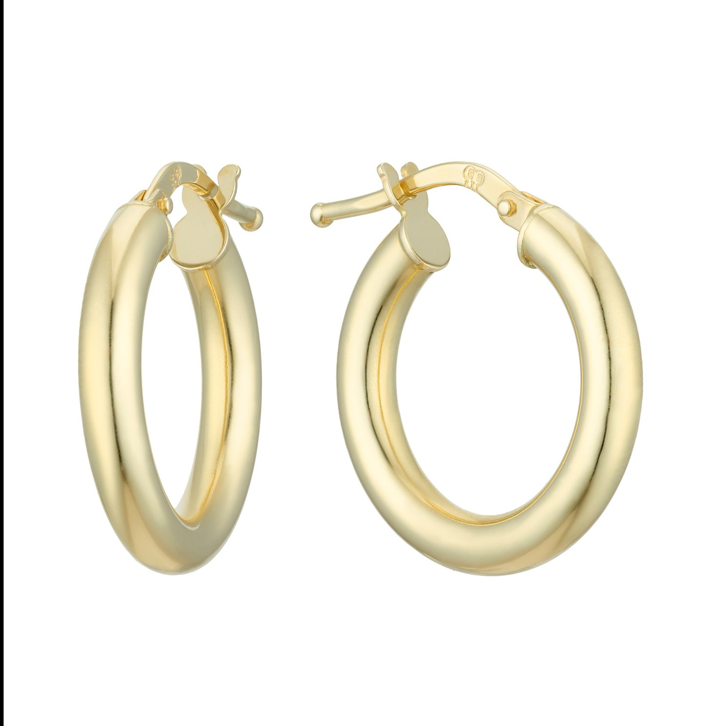 18ct Yellow Gold 18mm Round Tube Hoop Earrings - Product number 4681592
