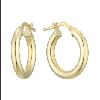 18ct Yellow Gold 18mm Round Tube Creole Hoop Earrings - Product number 4681592