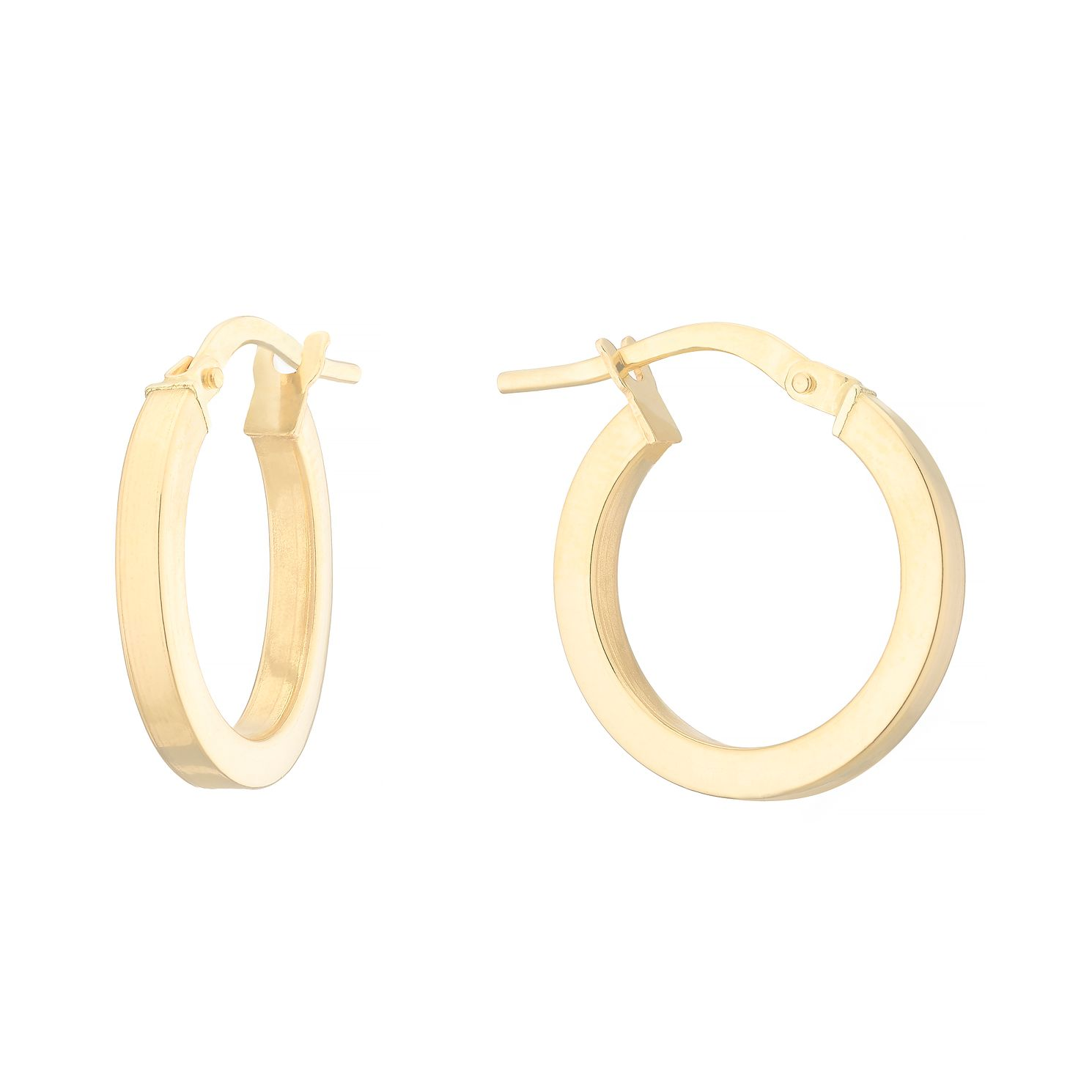 18ct Yellow Gold 13mm Square Tube Creole Hoop Earrings - Product number 4681606