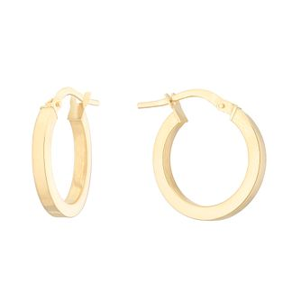 18ct Yellow Gold 16mm Square Tube Creole Hoop Earrings - Product number 4681606
