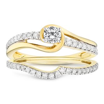 9ct Yellow Gold 0.50ct Total Diamond Solitaire Bridal Set - Product number 4682920
