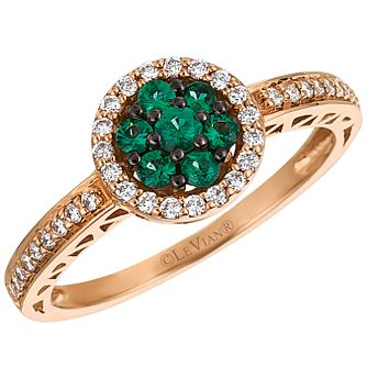 Le Vian 14ct Strawberry Gold Emerald and Diamond Ring - Product number 4683293