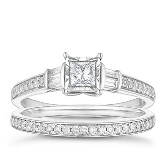 9ct White Gold 0.50ct Total Diamond Princess Cut Bridal Set - Product number 4683366