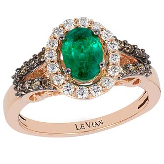 Le Vian 14ct Strawberry Gold Emerald & 0.42ct Diamond Ring - Product number 4684737