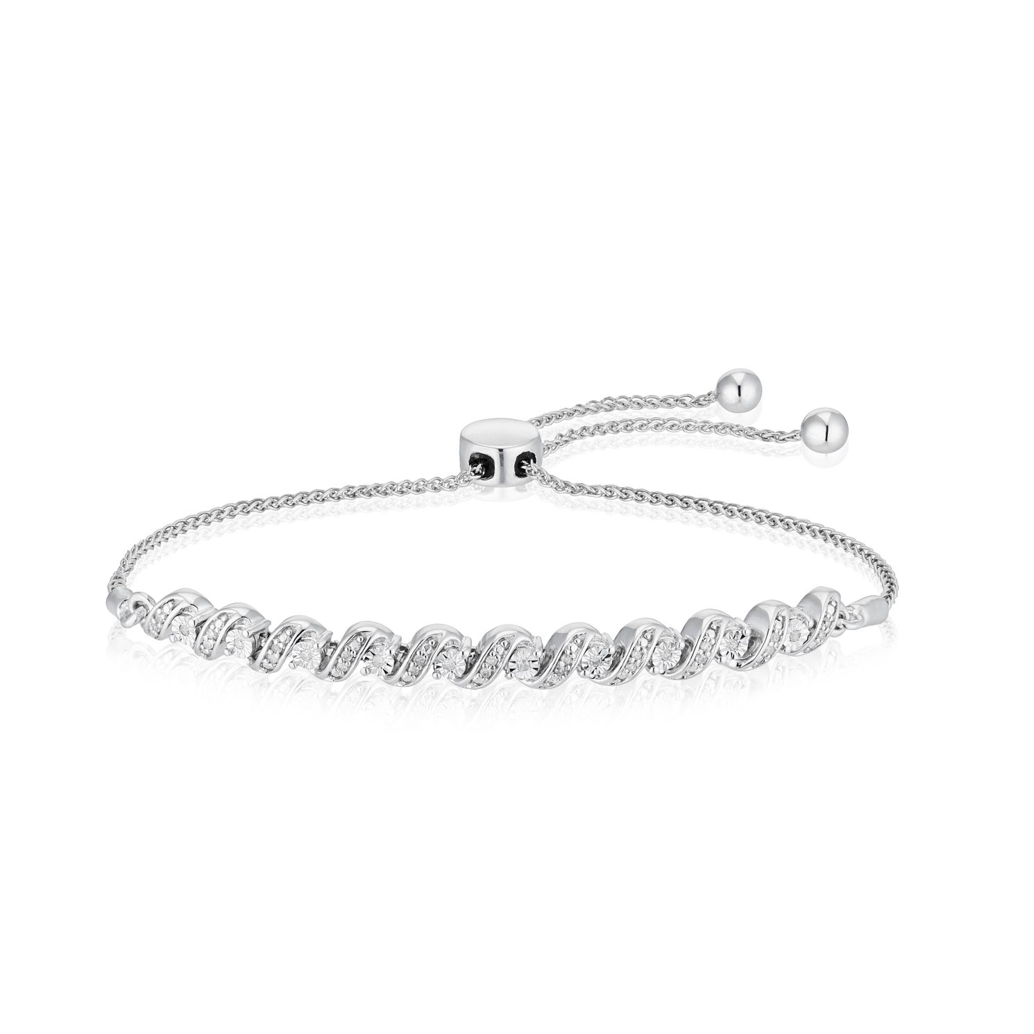 Silver 0.10ct Diamond Twist Bolo Bracelet - Product number 4685199