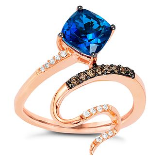Le Vian 14ct Strawberry Gold Blue Topaz 0.11ct Diamond Ring - Product number 4685946