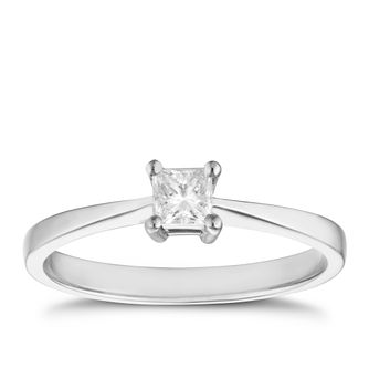 Platinum 1/4ct princess cut diamond solitaire ring - Product number 4691881