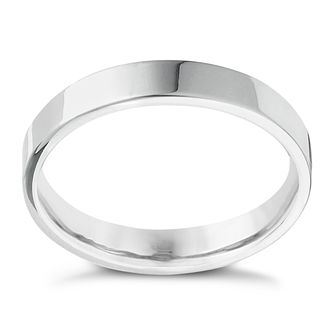 18ct White Gold 4mm Extra Heavyweight Flat Ring - Product number 4700384