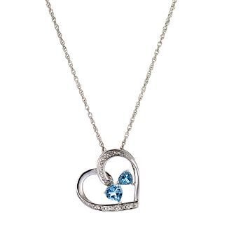 Silver, Diamond and Blue Topaz Heart Pendant - Product number 4702646