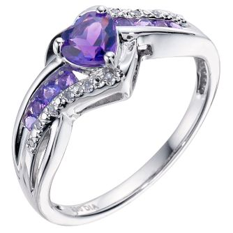 Argentium Silver Diamond & Amethyst Heart Ring - Product number 4702662
