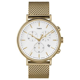 Timex Fairfield Men's Yellow Gold Plated Bracelet Watch - Product number 4702808