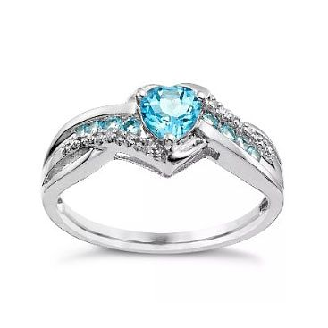 Argentium Silver Blue Topaz & Diamond Heart Ring - Product number 4703170