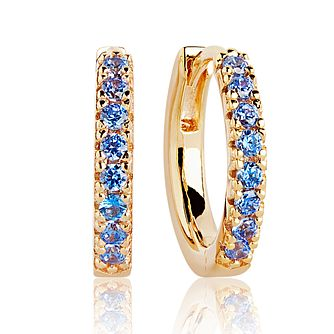 Sif Jakobs 18ct Gold Plated Blue Zirconia 14mm Hoop Earrings - Product number 4704886