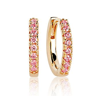 Sif Jakobs 18ct Gold Plated Pink Zirconia 14mm Hoop Earrings - Product number 4704908