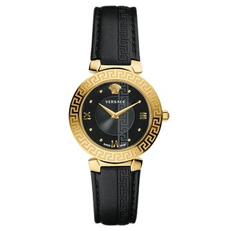 Versace Daphnis Ladies' Yellow Gold Tone Black Strap Watch - Product number 4704940