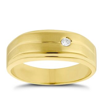 Men's 9ct Yellow Gold Diamond Signet Ring - Product number 4705009