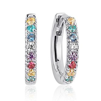 Sif Jakobs Rhodium Plated Multi Zirconia 14mm Hoop Earrings - Product number 4705041