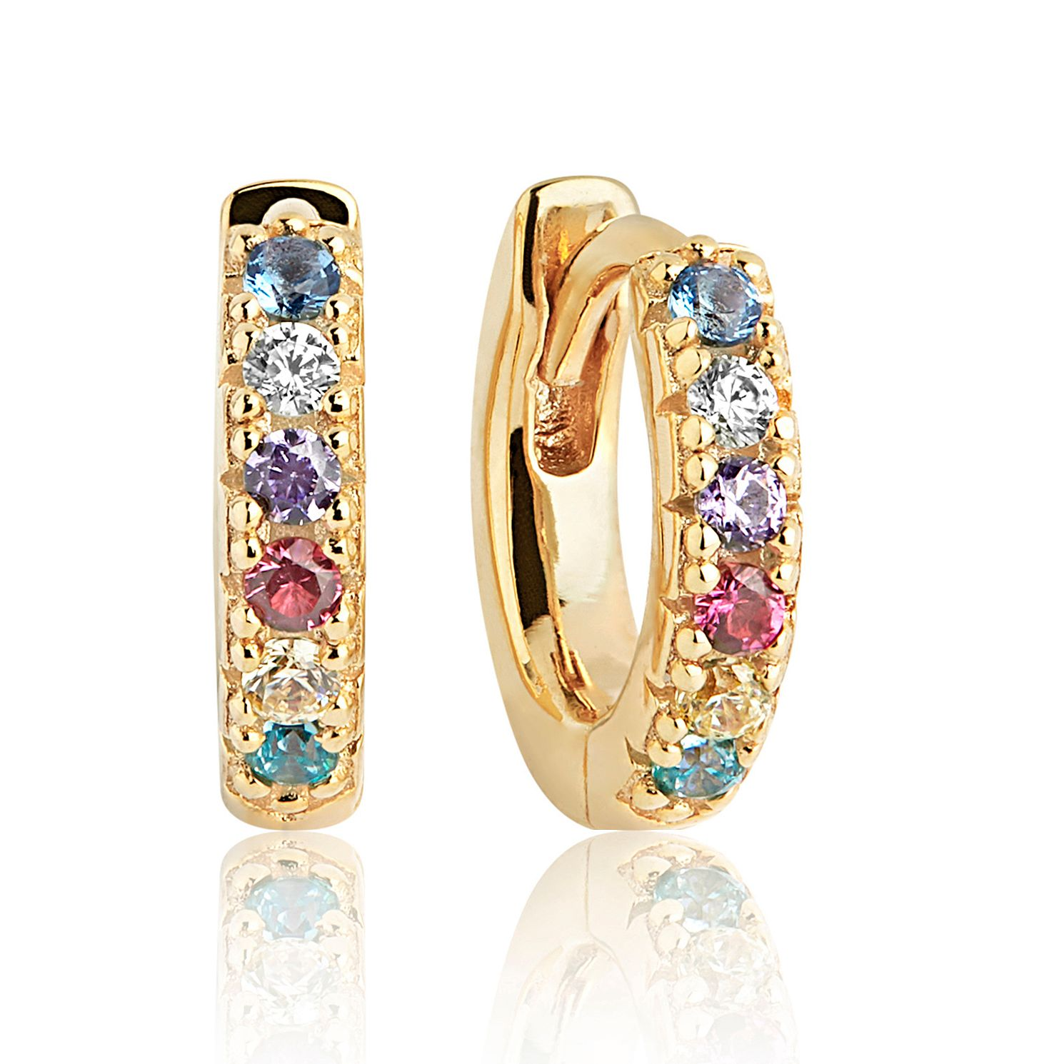 Sif Jakobs 18ct Gold Plate Multi Zirconia 14mm Hoop Earrings - Product number 4705076