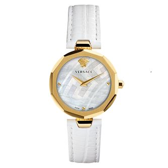 Versace Idyia Ladies' Yellow Gold Tone Black Strap Watch - Product number 4705130