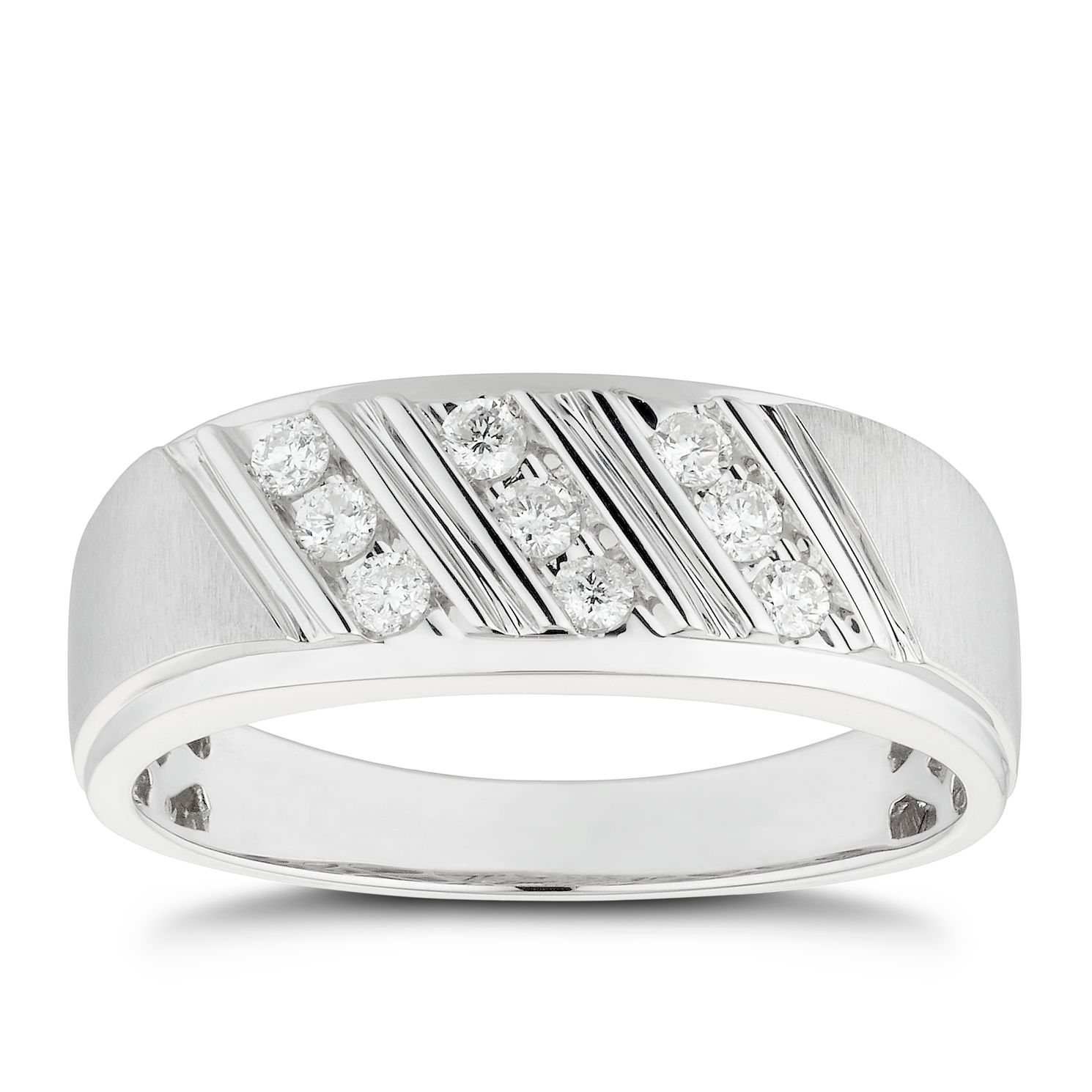 Men's 9ct White Gold 1/4ct Diamond Three Row Signet Ring - Product number 4705548