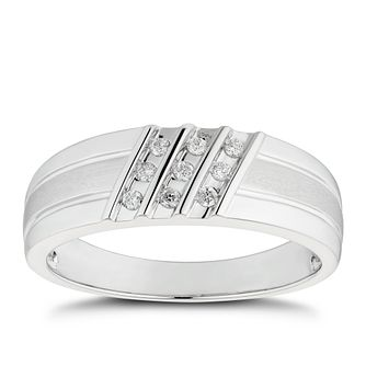 Men's 9ct White Gold 1/10ct Diamond Three Row Signet Ring - Product number 4705688