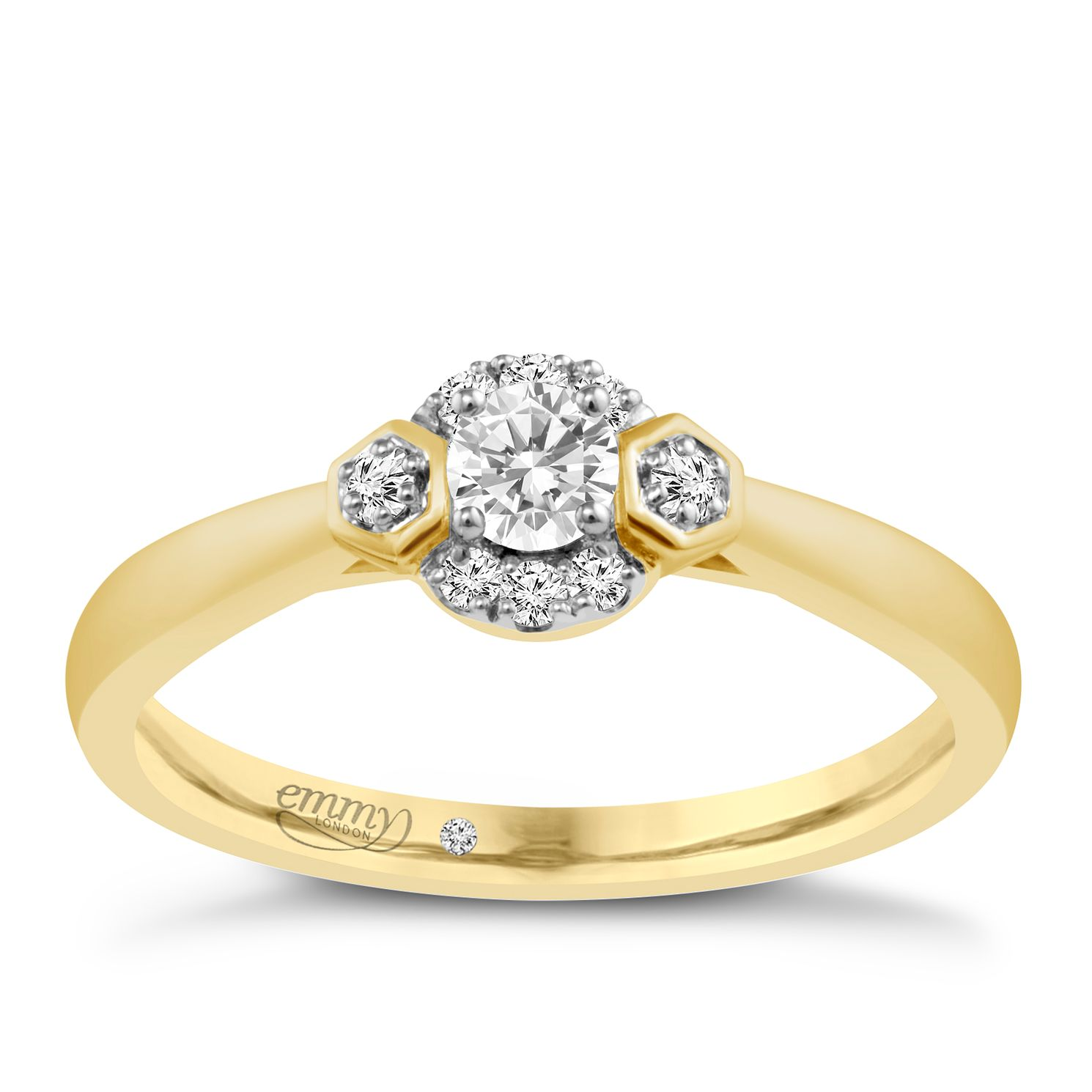 Emmy London 9ct Yellow Gold 1/5 Carat Diamond Solitaire Ring - Product number 4705866