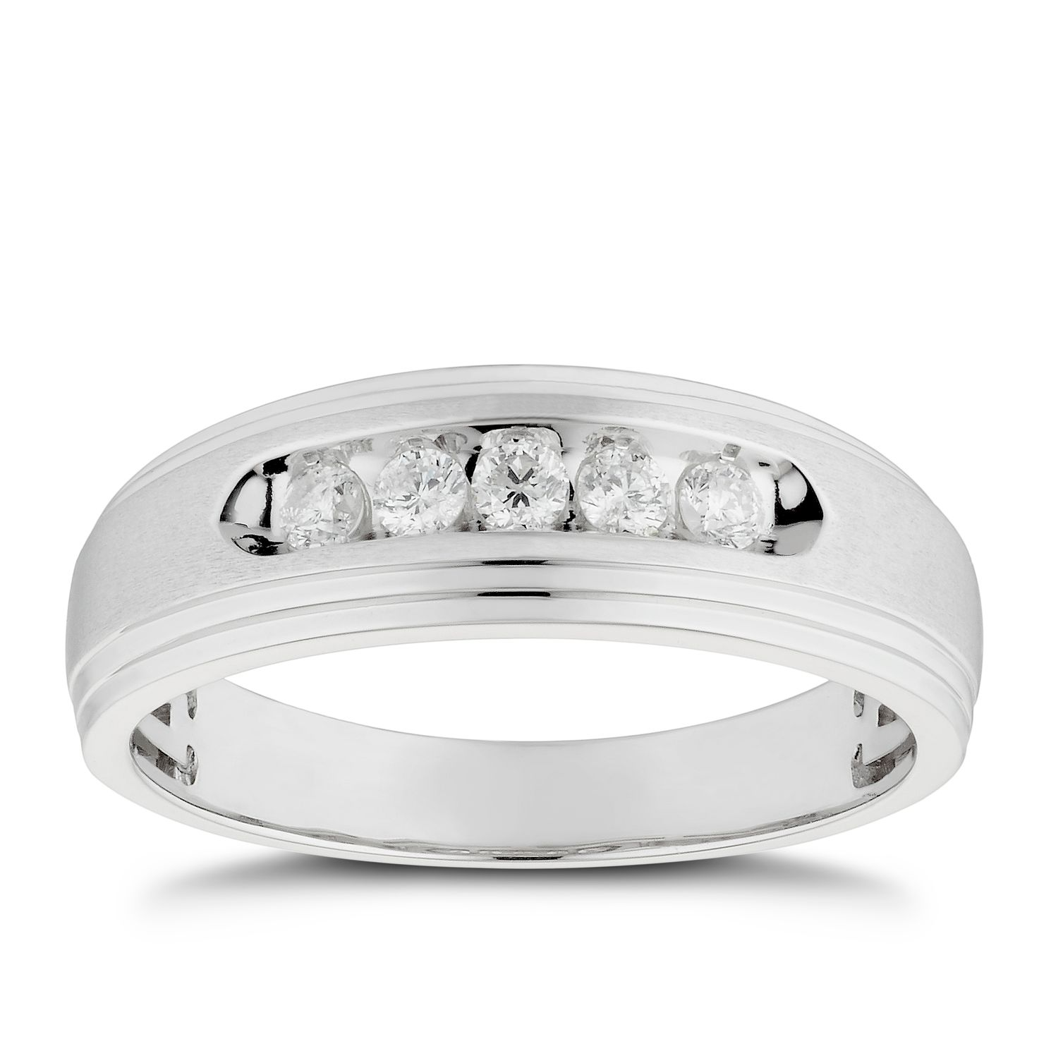 Men's 9ct White Gold 1/4ct Diamond Five Stone Signet Ring - Product number 4705920