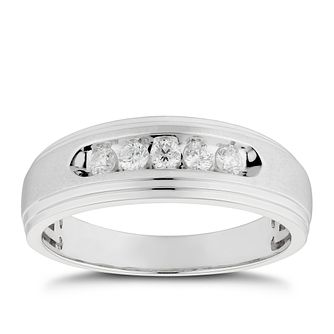 Men's 9ct White Gold 0.25ct Diamond Five Stone Signet Ring - Product number 4705920