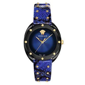 Versace Shadov Ladies' Blue Leather Strap Watch - Product number 4706005