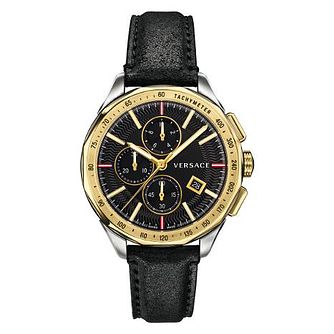 Versace Glaze Chrono Men's Gold Tone Black Strap Watch - Product number 4706153