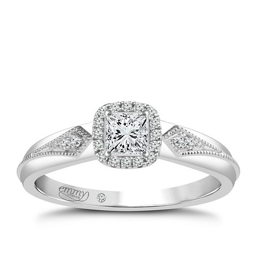 Emmy London Palladium 1/4 Carat Diamond Solitaire Ring - Product number 4706897