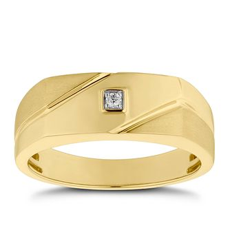 Men's 9ct Yellow Gold Diamond Matte & Polished Signet Ring - Product number 4710584