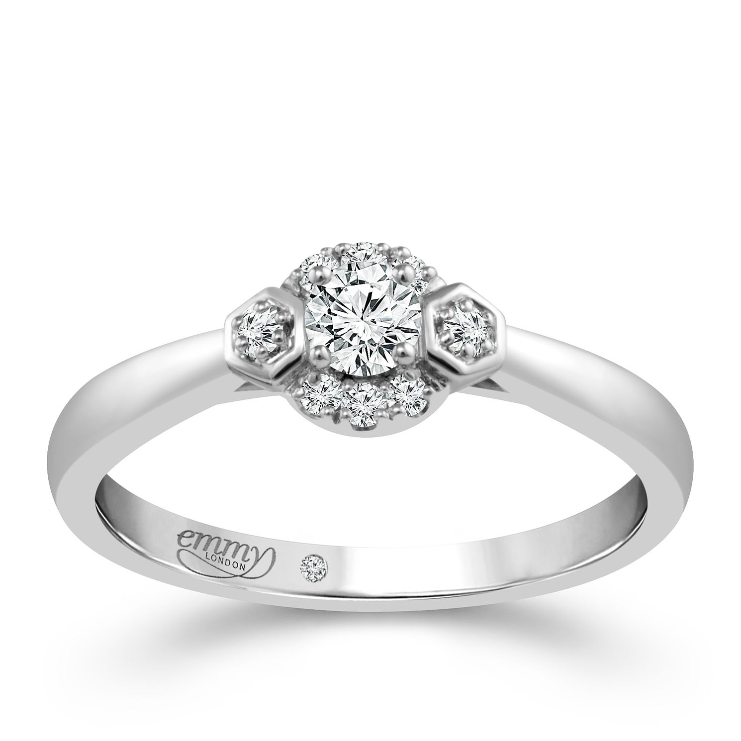 Emmy London 18ct White Gold 1/5 Carat Diamond Solitaire Ring - Product number 4713869