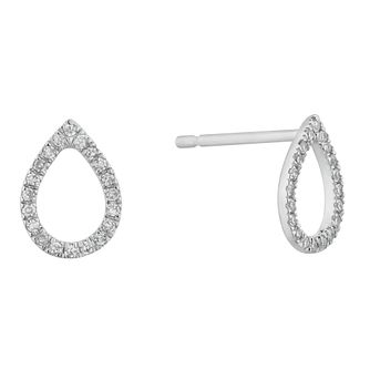 9ct White Gold Diamond Open Pear Stud Earrings - Product number 4715454