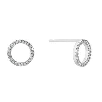 9ct White Gold Diamond Open Circle Stud Earrings - Product number 4715489