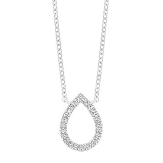 9ct White Gold Diamond Open Pear Pendant - Product number 4715497