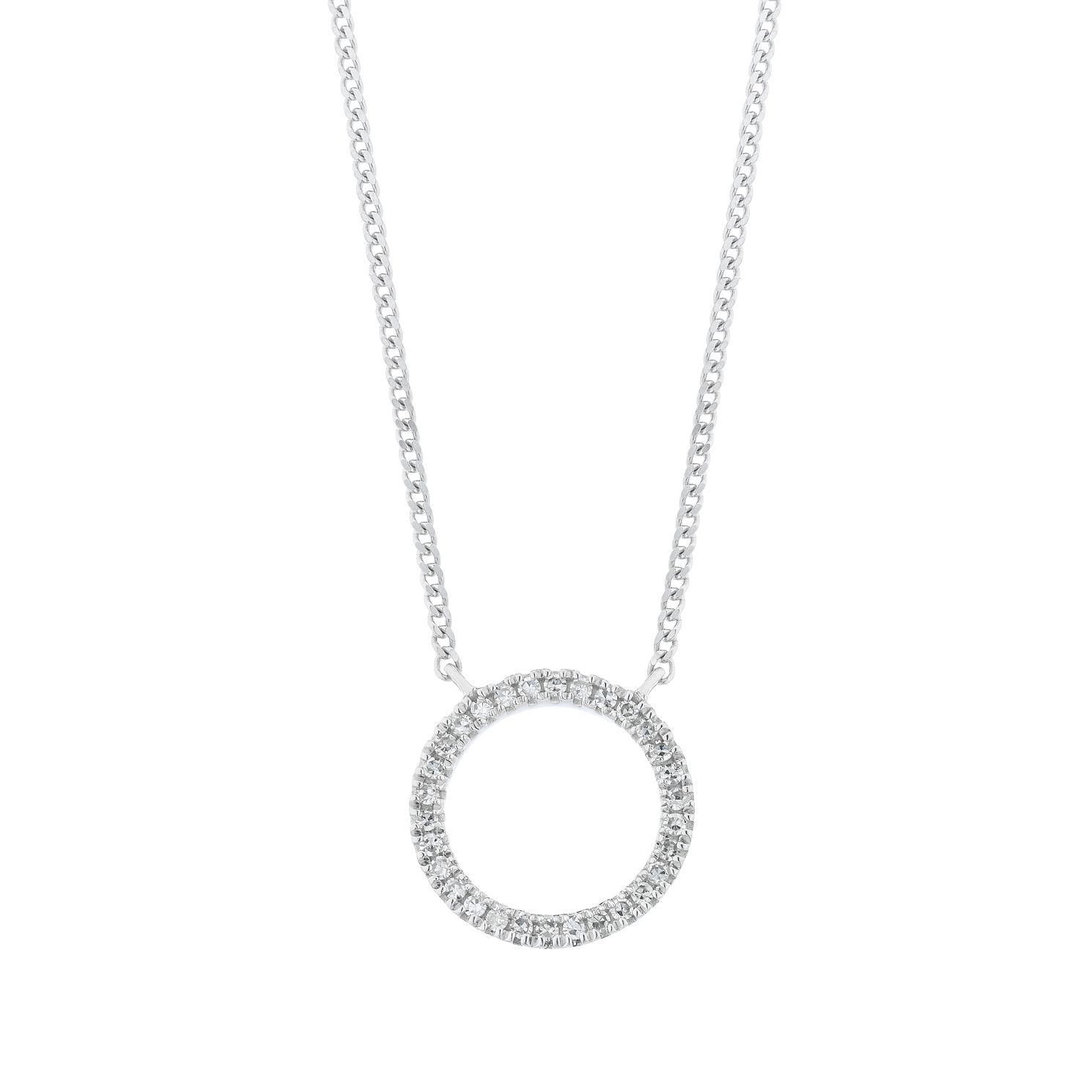 9ct White Gold Diamond Open Circle Pendant - Product number 4715691