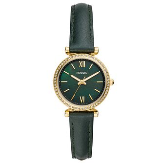 Fossil Carlie Mini Ladies' Dark Green Leather Strap Watch - Product number 4716485