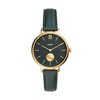 Fossil Kalya Ladies' Dark Green Leather Strap Watch - Product number 4716493
