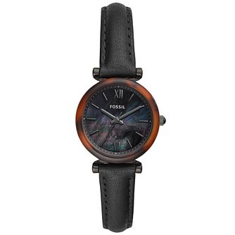Fossil Carlie Mini Ladies' Black Leather Strap Watch - Product number 4716523