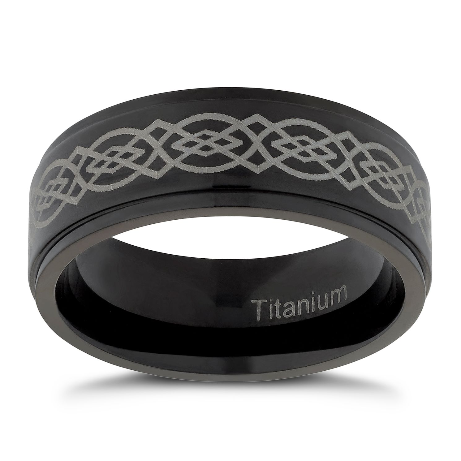 Men's Titanium Black Patterned Ring - Product number 4716590