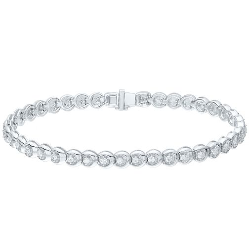 9ct White Gold 1ct Diamond Tennis Bracelet - Product number 4716957
