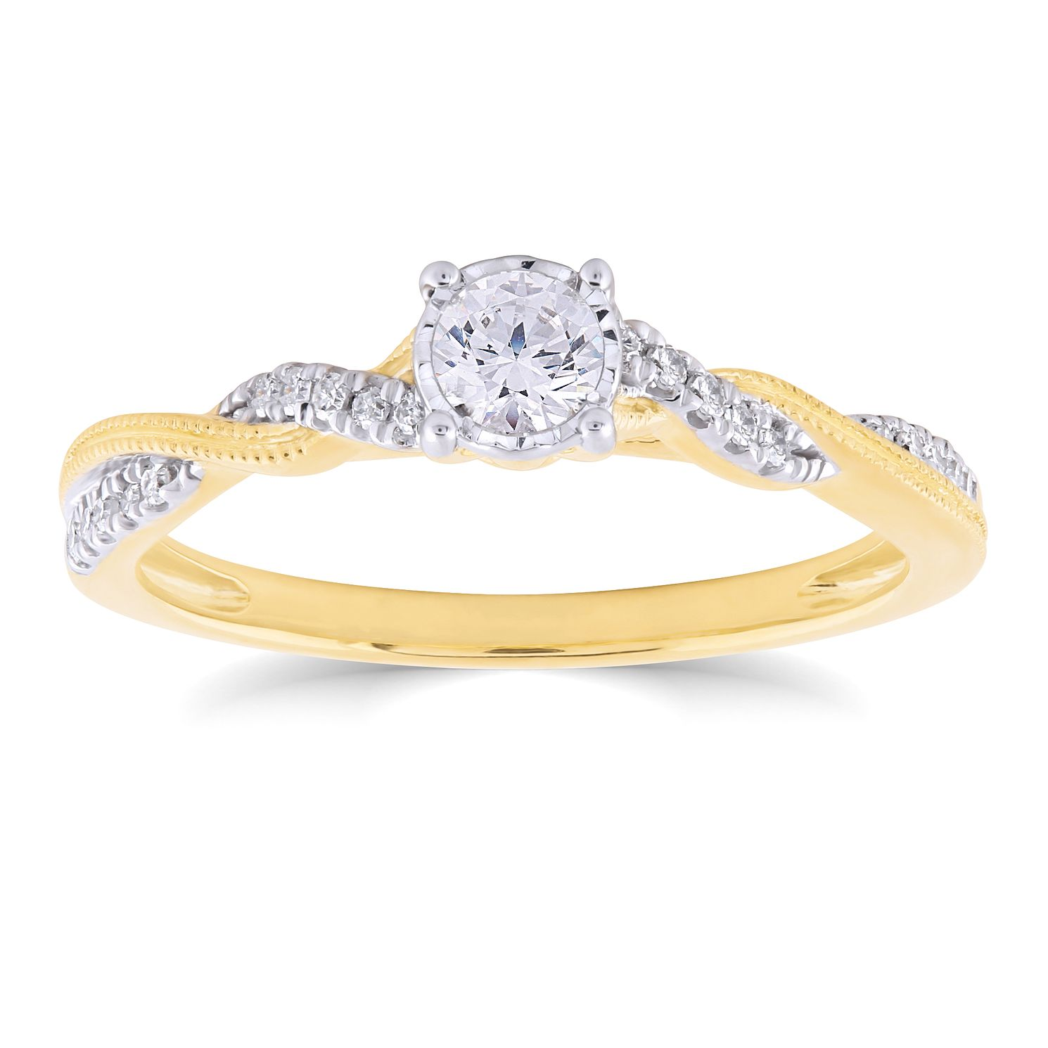 9ct Yellow Gold 1/4ct Diamond Solitaire Twist Ring - Product number 4717333