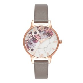 Olivia Burton Rose Gold Plated Floral Marble Strap Watch - Product number 4719166
