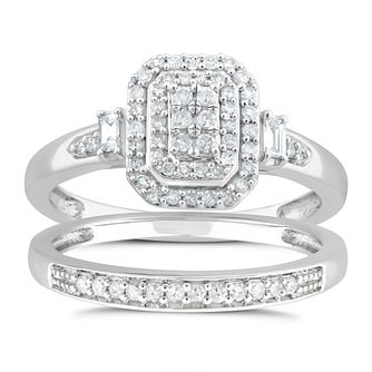 Perfect Fit 9ct White Gold 1/3ct Diamond Pave Bridal Set - Product number 4719425