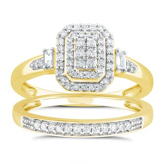 Perfect Fit 9ct Yellow Gold 1/3ct Diamond Cushion Bridal Set - Product number 4719557