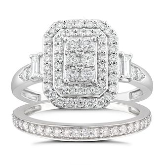 Perfect Fit 9ct White Gold 0.80ct Diamond Cushion Bridal Set - Product number 4719727