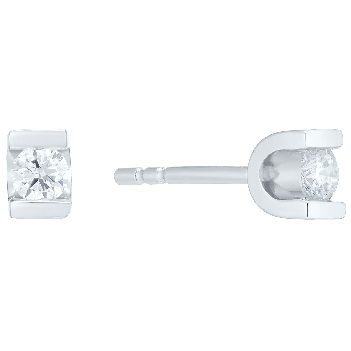9ct White Gold Fifteen Point Diamond Stud Earrings - Product number 4719948